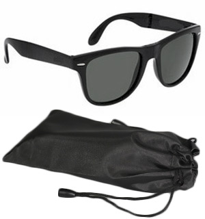 BLACK Wayfarer Style Glasses w/ Case