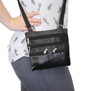 Black Crossbody Leather Purse - #4954A