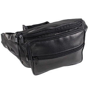 Multi-Purpose Black Leather Fanny Pack - #5227