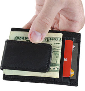 Genuine Leather Slim Wallet with Magnetic Money Clip - #5231