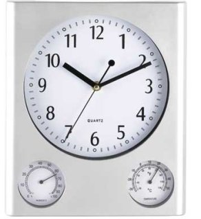 Weather Station Wall Clock - Silver Finish - #5550