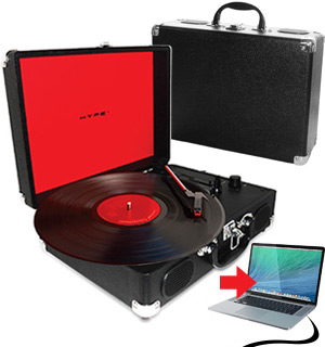 Briefcase USB Turntable with Built-in Speakers by Hype - #5829