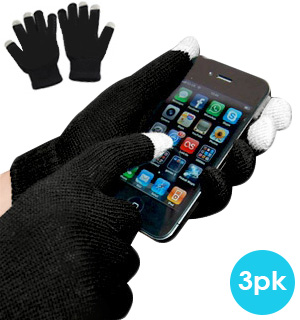 Black Stretchy Gripping Texting Gloves 3-Pack - #5986A