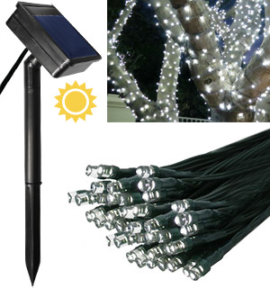 White 100 LED Solar String Lights - Simply Stunning - #5989
