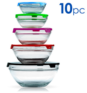Glass Prep and Mixing Bowl 10-Piece Set