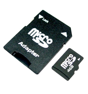 ADATA 4GB Micro SD Memory Card and Adapter - #6305