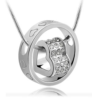 Genuine Swarovski Circle with Heart Necklace - #6512