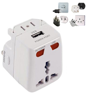 PowerXcel Travel Adapter with USB Input - #6710