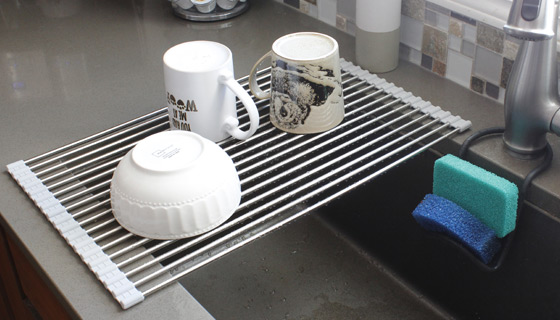 Over the Sink Roll-Up Drying Rack