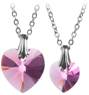 Two Genuine Pink Swarovski Crystal Heart Pendant Necklaces - #6741