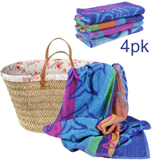 "4-Pack of 100% Cotton Plush 30""X60"" Beach Towels - #6744A"