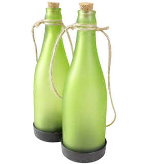 Set of 2 Solar Powered Decorative Glass Wine Bottles - #6751