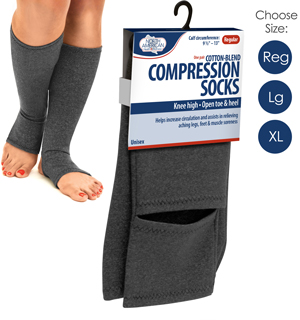 Open Toed Compression Socks by North American Healthcare - #6812