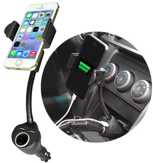 Adjustable Smartphone Mount USB Charger  - NEW LOW PRICE - #6852