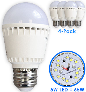 4-Pack of LED Light Bulb - 3000K Warm White - #6892A