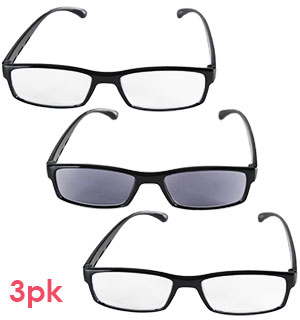 Set of 3 Reading Eyeglasses Including Sun Readers - #6994