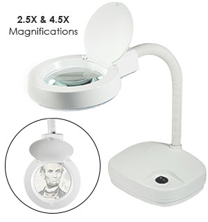 "Dual Magnifier Table  Lamp - 3.5"" Illuminated - #7035"