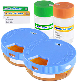 PillTracker Automatic Medication Tracking Bottle and Case (4-piece Set) - #7080