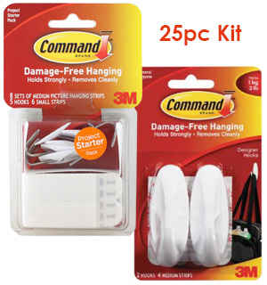 Command Strips Starter Kit plus Free Package of Hooks - #7269