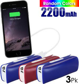 Power Bank w/ Flashlight 3-Pk - #7271A