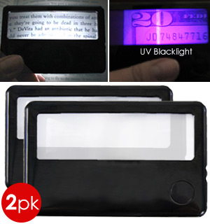 2pk Credit Card Sized Magnifier with UV Black Light - #7283A