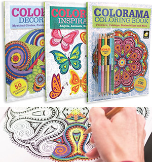 Colorama Adult Coloring Books - Deluxe Kit with Colored Pencils - #7292