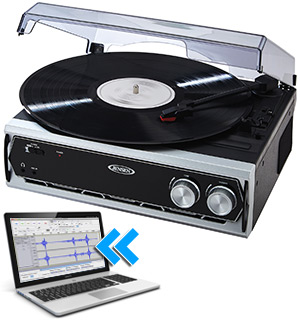 Jensen 3-Speed Turntable with Built-In Speakers and Digital Conversion - #7301