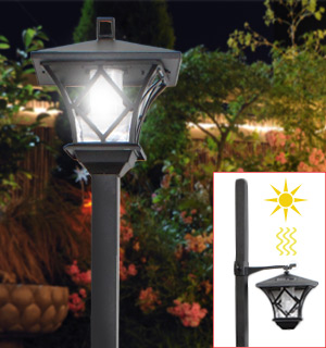 Solar Sensor LED Lamp Post - #7305