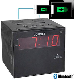 Sonnet AM/FM Alarm Clock Radio with Outlets and USB Ports - #7321
