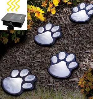 4 Solar Powered Paw Print Lights - #7352