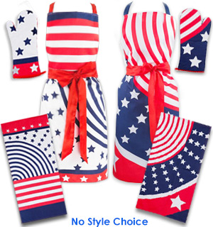 Red, White and Blue Patriotic Holiday Apron and Barbecue Mitt Set - #7428