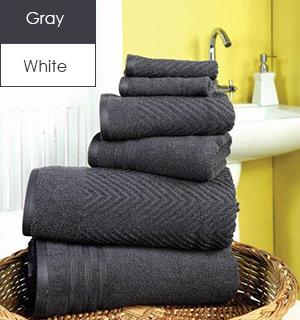 6-Piece Luxury Towel Collection by Bamboo Luxury - 100% Cotton - #7431