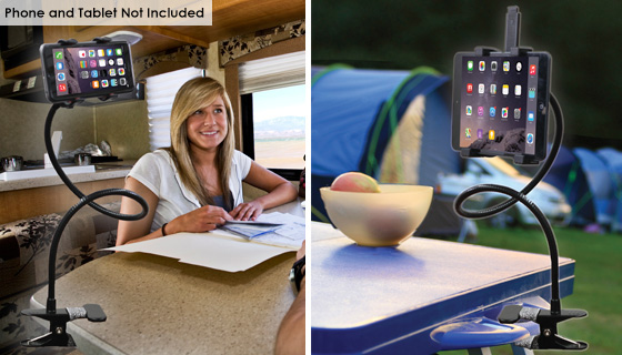 Clip-On Tablet and Smartphone Mount
