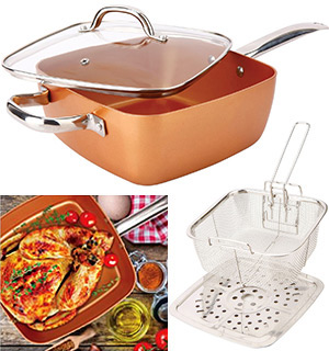 Copper Household Items Square Copper Cookware Pan Set