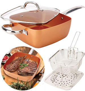 The Original Copper Cook<br />Square Copper Pan 4-PC Set