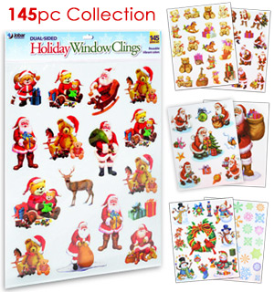 145pc Holiday Window Clings - #7610