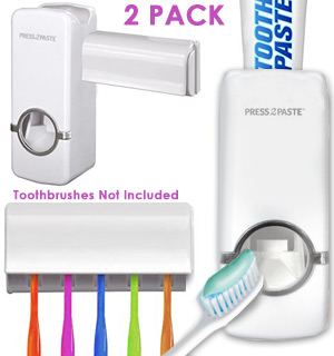 Press2Paste and Toothbrush Holder - VALUE 2-Pack