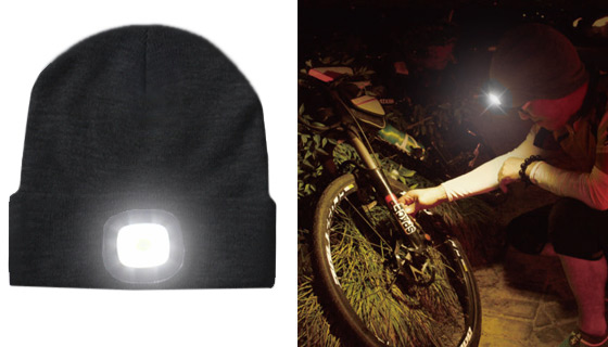 Black USB Rechargeable LED Beanie