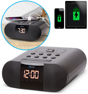Bluetooth Alarm Clock Radio with USB Charging Port - #7676