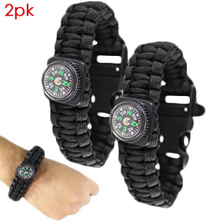 Paracord Survival Bracelet with Compass and Whistle 2 pk - #7694A