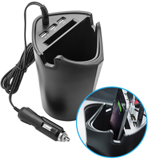Intelligent Car Cup Holder and Charger with 3 USBs - #7761