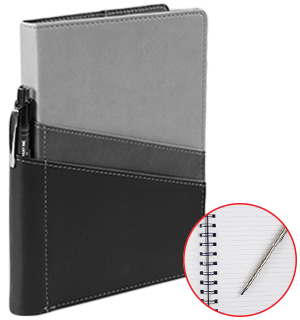 Leatherette 160 Page Journal w/ Pen Holder and Pockets by Markings - #7788