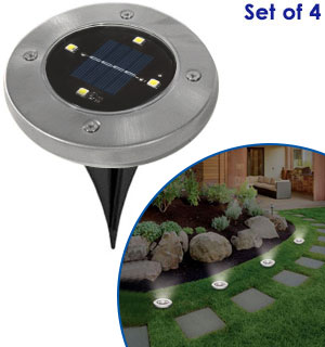 LED Solar Pathway Lights - Set of 4