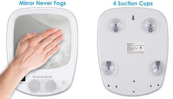 fogless shower mirror with bluetooth speaker