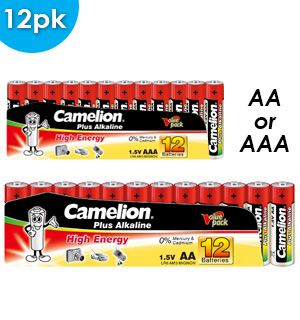 12pk Batteries: AA or AAA by Camelion