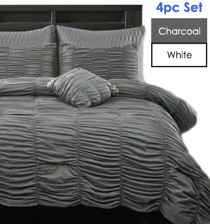4-pc Chic Ruched Comforter Set by Regal Comfort - #7831