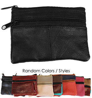 Scrap Genuine Leather Zippered Coin Purse - Assorted Styles - #7861