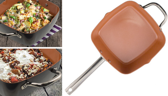 4pc square copper cookware pan set new and improved - Copper Cookware Set