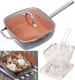 4pc Deep Square Copper Pan Set