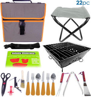 22 Piece Portable BBQ Grill & Picnic Set - #7874